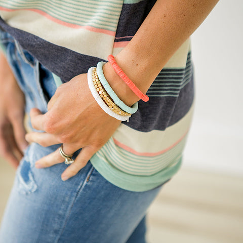 Gulf Shores Coral and Mint Bracelet Set