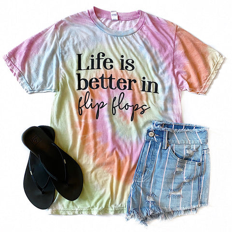 "NEW! Tie Dye ""Life is Better in Flip Flops"" Tee"