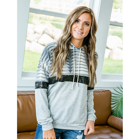 NEW! Bethany Aztec and Sequin Hooded Top - Arrow Twenty Two
