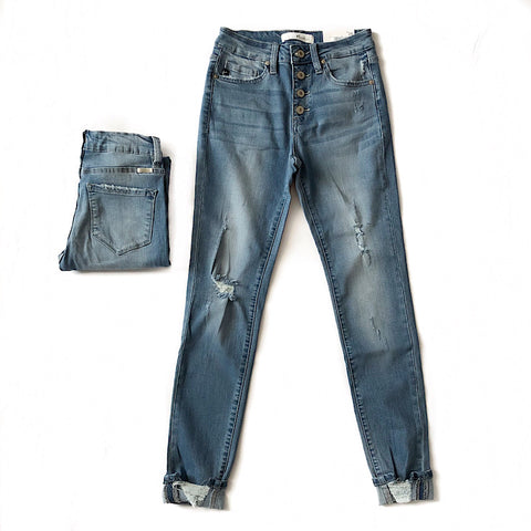Favorite Medium Wash High Waist Distressed Jeans