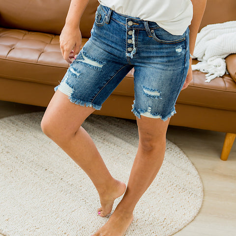 NEW! Cara Dark Wash Distressed Shorts