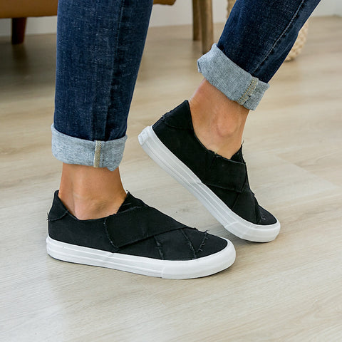 NEW! Ivette Criss Cross Black Slip on Sneaker - Arrow Twenty Two