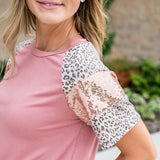 Madison Mauve, Leopard and Sequin Top - Arrow Twenty Two