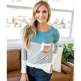 NEW! Maya Teal Color Block Top with Double Pocket - Arrow Twenty Two