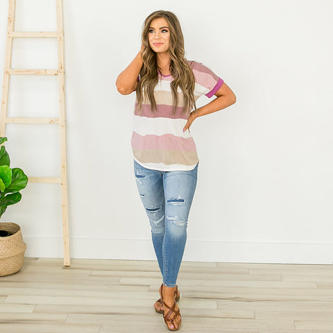 NEW! Plum and Lavender Striped V Neck Top - Arrow Twenty Two