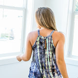 Naomi Navy, Purple and Teal Tie Dye Halter Tank - Arrow Twenty Two