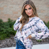 Ember Pink and Charcoal Tie Dye Long Sleeve Top - Arrow Twenty Two