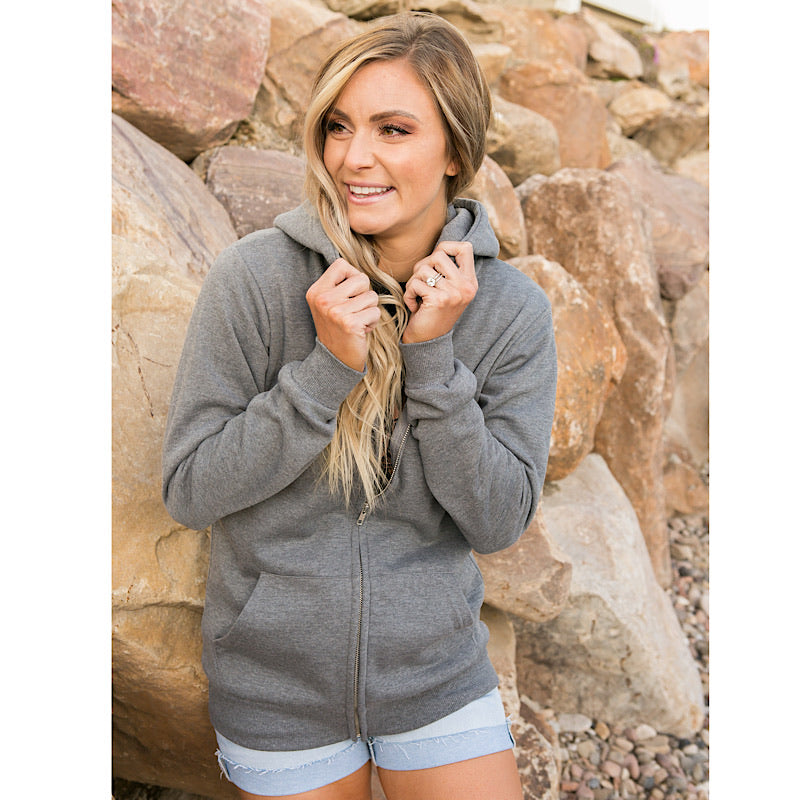 Favorite Charcoal Full Zip Hoodie - Arrow Twenty Two