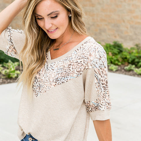 Brynn Oatmeal Top with Leopard V Neck Detail - Arrow Twenty Two