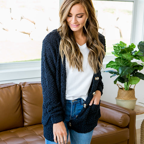 Navy Popcorn Cardigan - Arrow Twenty Two