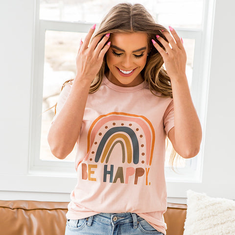 "NEW! ""Be Happy"" Rainbow Peach Tee - Arrow Twenty Two"