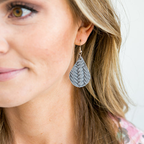 NEW! Gray Braided Teardrop Earrings