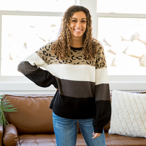 Lydia Stripe and Leopard Sweater