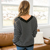 NEW! Bergen Black and Ivory Striped Double V Waffle Sweater - Arrow Twenty Two