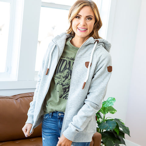 Wanakome Hera Full Zip Hoodie - Light Heather Gray