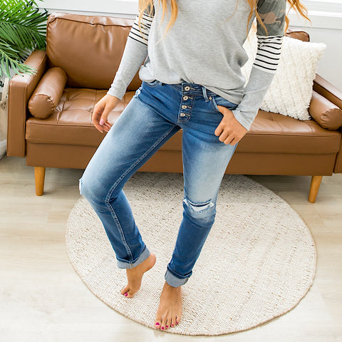 NEW! KanCan Natalie Patched Straight Jeans