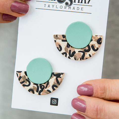 NEW! Mint Leopard Half Circle Clay Earrings - Arrow Twenty Two