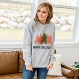 """Merry Christmas"" Trees Heather Gray Sweatshirt - Arrow Twenty Two"