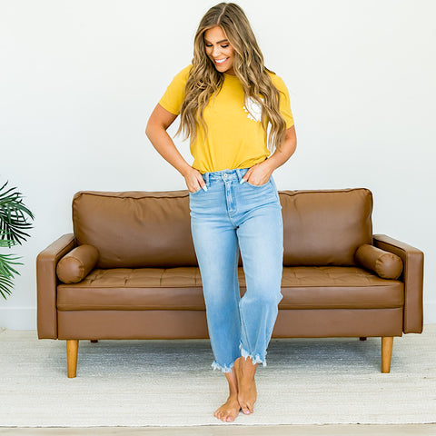 KanCan Wide Leg Cropped Jeans