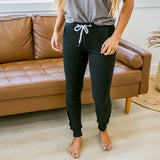 Black Button Hem Jogger Lounge Pants - Arrow Twenty Two