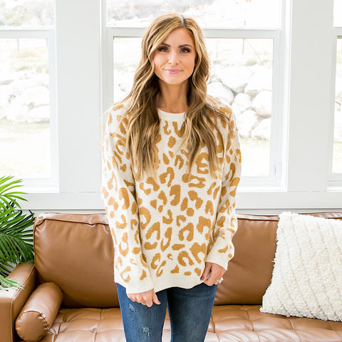 Ella Cream Leopard Sweater - Arrow Twenty Two