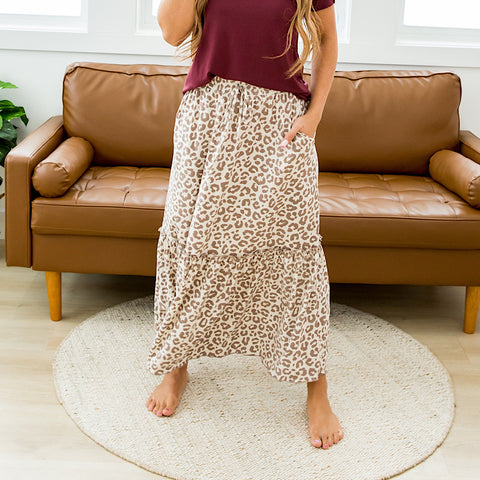 NEW! Leopard Ruffle Maxi Skirt