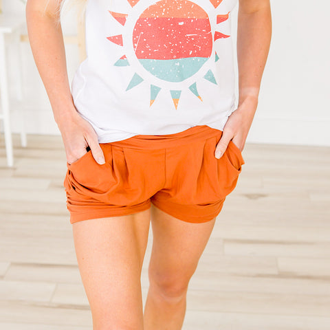 NEW! Buttery Soft Ruched Side Shorts - Rust