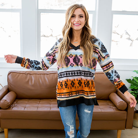 Danielle Aztec V Neck Top