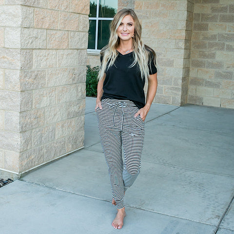 Sadie Black and Ivory Striped Joggers