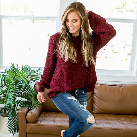 Indie Burgundy Popcorn Sweater