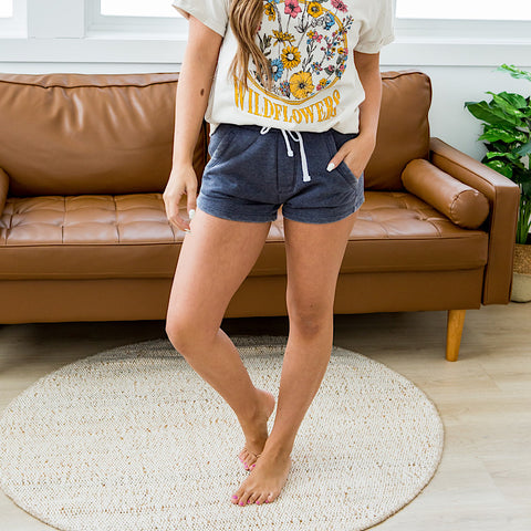 NEW! Burnout Navy Comfy Shorts
