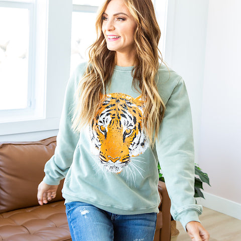 NEW! Sage Tiger Sweatshirt
