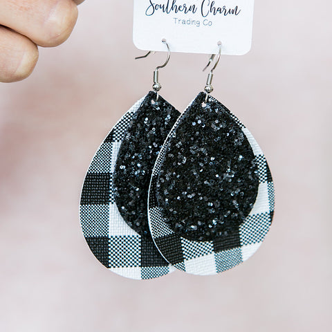 NEW! Black Buffalo Plaid and Black Glitter Double Teardrop Earrings - Arrow Twenty Two