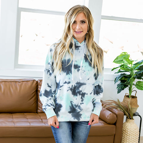 NEW! Navy and Mint Tie Dye Hoodie