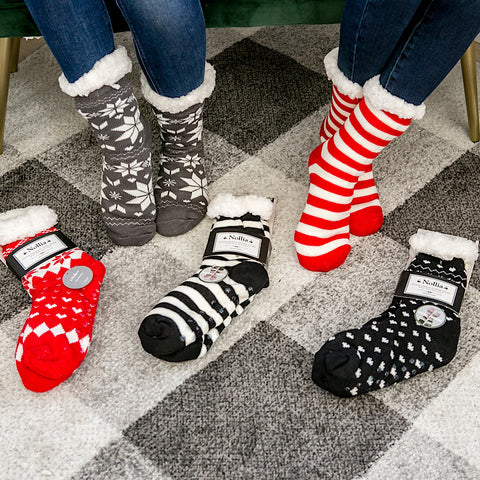 DOORBUSTER! Slipper Socks - Red and Black
