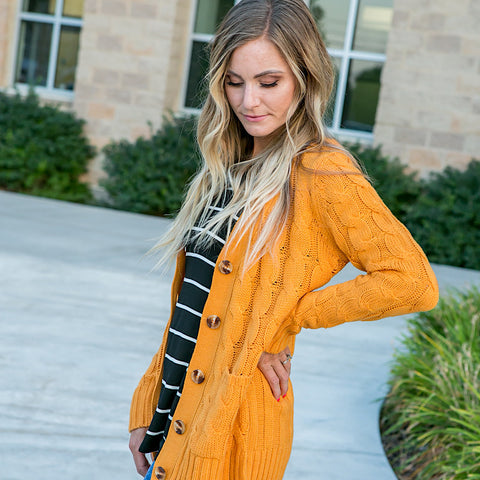 NEW! Mustard Cable Knit Cardigan