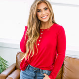 Red Button Up Tunic Top - Arrow Twenty Two
