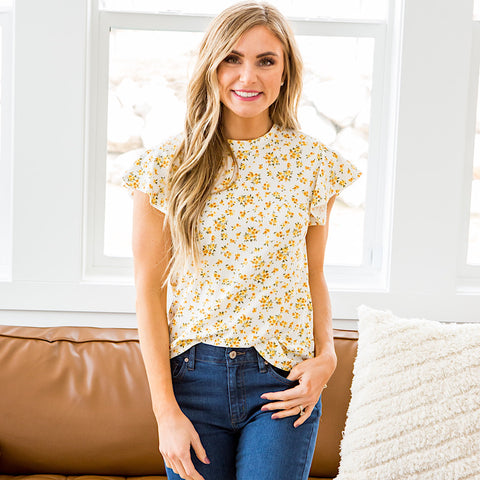NEW! Gloria Yellow Floral Flutter Sleeve Top