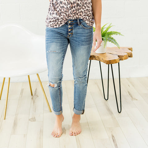 Girlfriend Distressed Jeans - Regular and Plus!