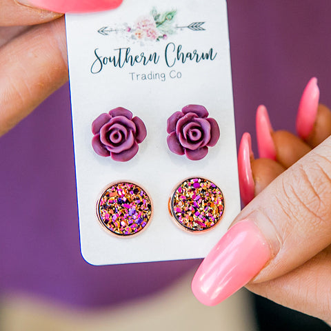 Burgundy Roses & Iridescent Gold Earrings - Arrow Twenty Two