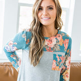 Marley Teal Floral and Gray Long Sleeve Top - Arrow Twenty Two