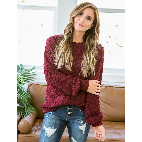 Indie Burgundy Popcorn Sweater - Arrow Twenty Two