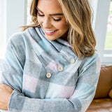 Henley Pastel Plaid Fleece Pullover - Arrow Twenty Two