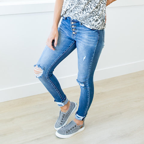 NEW! KanCan Bella Button Up Distressed Jeans - Regular and Plus!