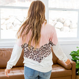 Vanessa Pink, Leopard and Heather Gray V Detail Top - Arrow Twenty Two