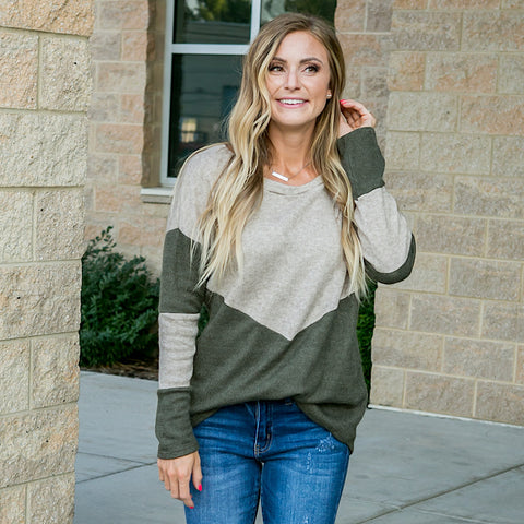 NEW! Emory Oatmeal and Olive V Detail Sweater
