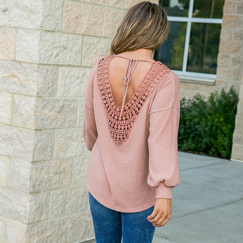 Serena Faded Rust Cutout Back Long Sleeve Top - Arrow Twenty Two