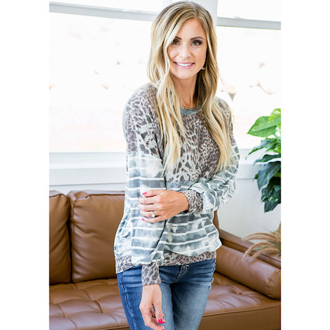 NEW! Claire Blue Striped and Leopard Long Sleeve Top - Arrow Twenty Two