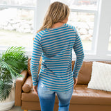 Teal and Gray Striped Top - Arrow Twenty Two