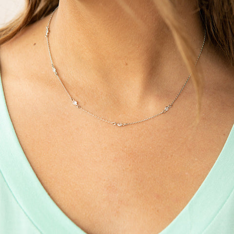 NEW! Silver Dainty 5 Stone Necklace